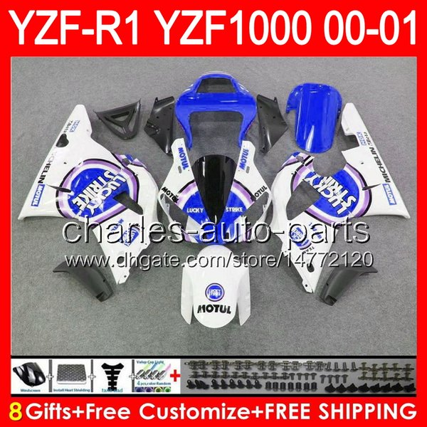 8gifts Lucky Strike corpo bianco per YAMAHA YZF R1 00 01 YZF1000 YZF-R1 00-01 91NO87 YZF 1000 YZF-1000 YZF R 1 YZFR1 2000 2001 carenatura blu