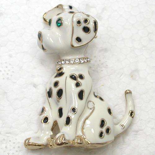 En gros De Mode Broche Cristal Strass Émail Dalmatiens chien Broches Bijoux cadeau C102150