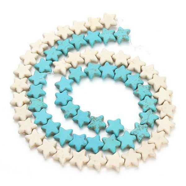 32pcs 1,5 cm * 1,5 cm Lose Distanzscheibe Stern Rocailles Blau Weiß Synthetische Türkise Perlen Schmuck Machen Steine DIY Handwerk Material