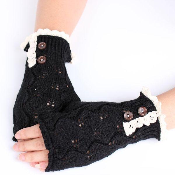 Wholesale Lace Pattern Women Knitted Crochet Fingerless Glove/Women Ladies Fingerless Gloves For Winter Warm Knitted