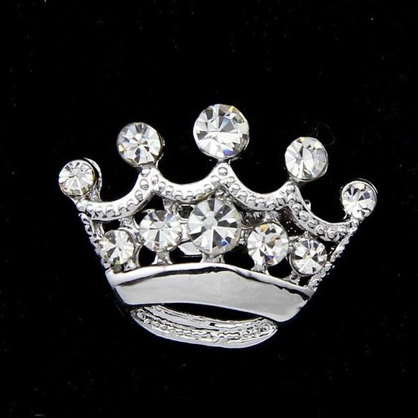 Fashion Silver Tone Clear Crystal Crown Brooch Man Women Rhinestone Diamante Pins Wedding Jewelry Brooches Corsage Breastpin