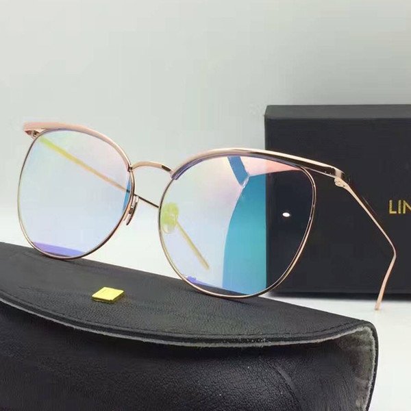 titanium sunglasses 55fc  2017 100% Titanium Sunglasses Women Rose Gold Sunglasses Cat Eye Sunglasses,LINDA  FARROW LF509