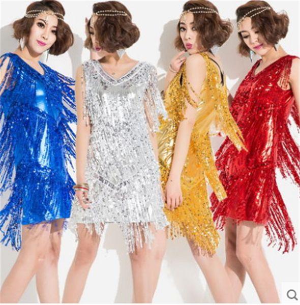 best selling Hot Sale 5Color Gold Blue Sliver Adult Girl Latin Dance Dress salsa tango Chacha Ballroom Competition Practice Sequin Tassel Dance Dress