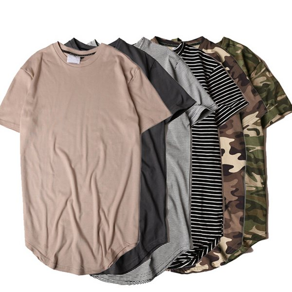 Hi-street Solid Curved T-shirt Black Men Longline Extended Camouflage Hip Hop Tshirts Plus Size Kpop Tee Shirts streetwear free shipping