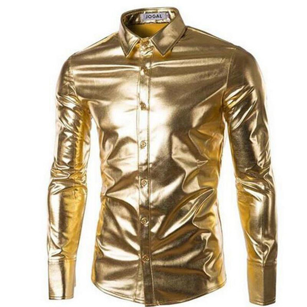 Mens Night Club Coated Metallic Gold Silver Button Down Shirts Stylish Shiny Long Sleeves Dress Shirts For Men Slim Fit Shirt