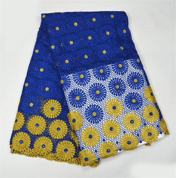 2017 de Calidad Superior Cordón Africano Cordón Vestido de Boda Nigeriano Tela de Encaje Azul + Amarillo Tela de Encaje Bordado Guipur 5 Yardas