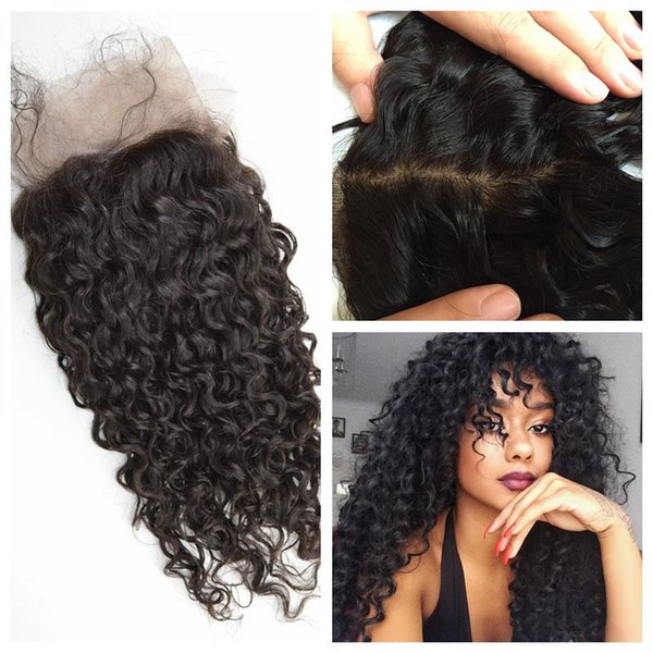 Deep Curly Silk Base Frontal Free Middle Three Part Malaysian Human Hair Deep Wave Lace Frontals G-EASY