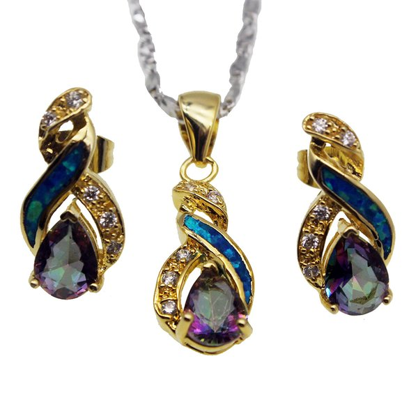 Christmas Gift Jewelry Sets Natural Opal Yellow Gold Plated Rainbow Fire Mystic Topaz 8 Design Pendant Necklace Earring OPJS7