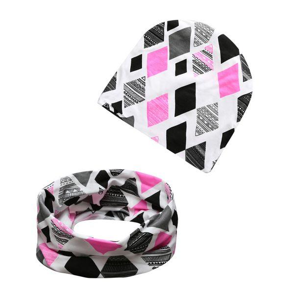20 Styles INS Baby Printing hat+O Ring Neckerchief 2pcs Set Fashion Baby Cotton Fox Crocodile Bear Tiger Printing Cap and Scarf A01