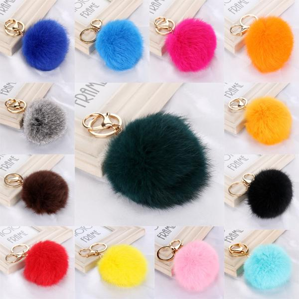 30 Color Women Gift 1.5 Inch 8cm Fur Ball Pom Pom Keychain for Car Ring Handbag Charm Pendant Gift C96Q