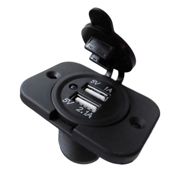 Wholesale-1PC 12V Dual USB Charger Power Socket Outlet Plug Panel Mount Boat Truck Auto