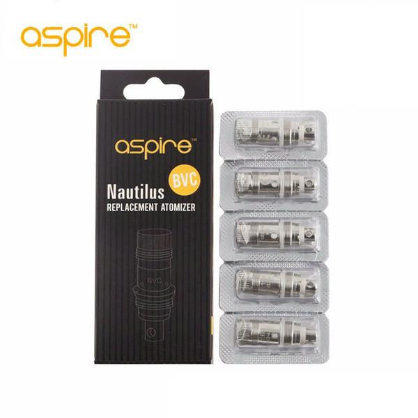 100% Original Aspire BVC bobina cabeças para aspirar nautilus mini controle de fluxo de ar clearomizer bobina cabeça 1.6ohm Nautilus substituição