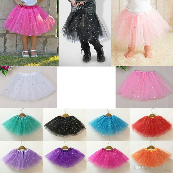 top popular Girls Sparkle Glitter Sequins Stars Dance Ballet Tulle Tutu Skirt Princess Dress with 3 layers tulle tutu toddler 8 colors available 2021