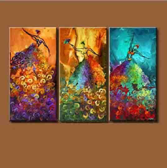 3pcs / set Sans Cadre Ballet Danseur Peintures à l'huile Peintes à La Main Sur Toile pour salon Décoration de La Maison