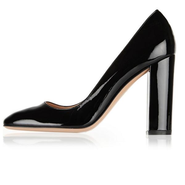 Zandina Ladies Handmade Fashion Thick Block Heel Closed Toe High Heel Party Office Pumps Shoes Black K397