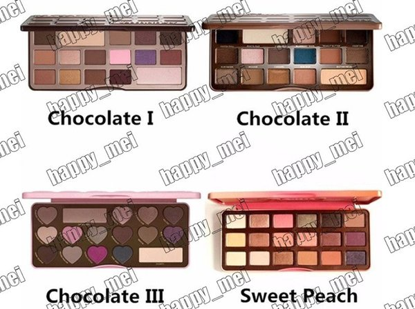 best selling Factory Direct DHL Free Shipping New Makeup Eyes Chocolate Bar Sweet Bon Bons Semisweet Sweet Peach Eyeshadow Palette!4 Different Colors