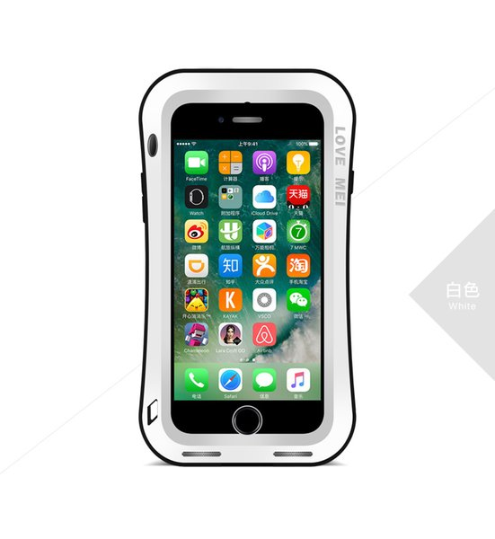 Love MEI Small Waist Shockproof Waterproof Dust / Snow Proof Aluminum Metal Case Gorilla Glass Heavy Protection Case Cover for iPhone 7