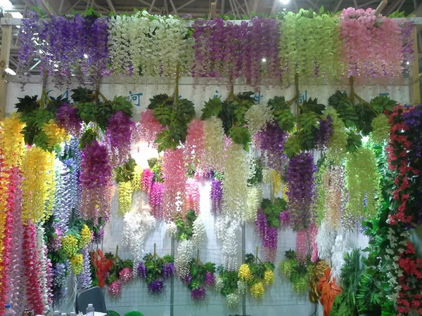 top popular 110cm Wisteria Wedding Decor 6 colors Artificial Decorative Flowers Garlands for Party Wedding Home with Free Shipping 2021