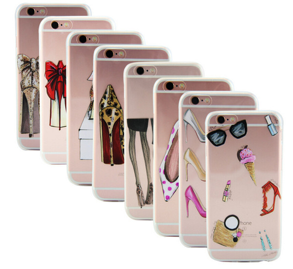 fashion high heels shoes gifts lipstick ulrta-thin soft transparent tpu cases shell for iphone 5 5s se 6 6s 7 7plus back cover