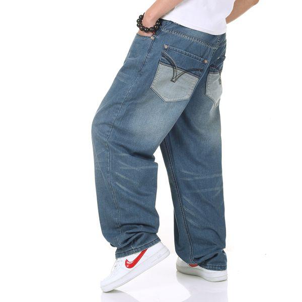 Toptan Satış - Toptan-Yeni Marka Moda Tasarımcısı Blue Bell Alt Jeans Genç Erkek Sıcak Casual Jeans Pantolon Hip Hop Denim Baggy Jeans Artı Boyutu 40 46