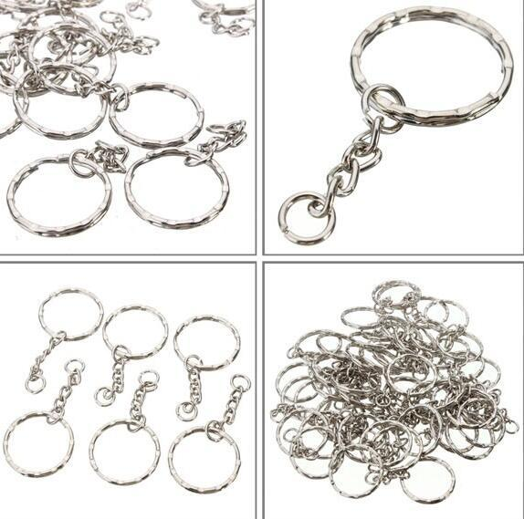 top popular Blanks Plated Silver Keychain Findings Split Rings 4 Link For Keys Car Bag Key Ring Handbag Couple Key Chains Gifts Jewelry Accessories DIY 2020