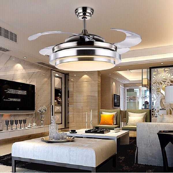 """ultra quiet 36"""" hidden blade 36W(18W warm white+18W cool white2) ceiling fan lamps 110-240v 36W bi-color invisible ceiling fans lamp"""
