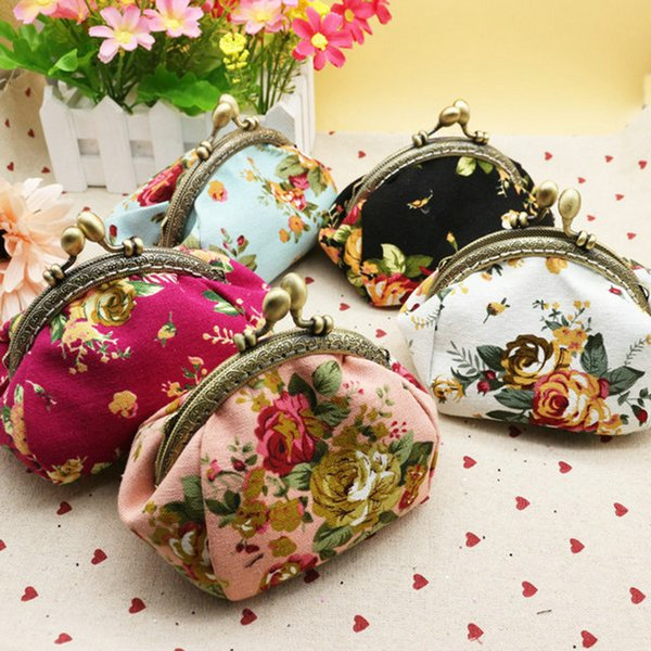 15pcs High quality canvas rose flower clutch coin purse key holder wallet hasp small coin change gifts bag xmas present handbag