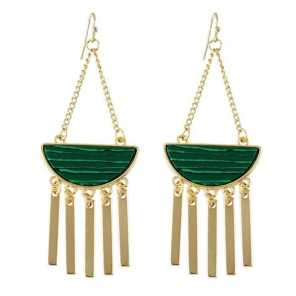 4e959e1dc New Boho Style Long Earrings Nature Stone White Green Stone Geometric Gold-Color  Chain Tassel