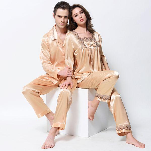 Gli amanti pigiama emulazione pigiama di seta imposta oro moda raso di seta degli indumenti da notte da uomo pijama donne camicie da notte 1204 2204