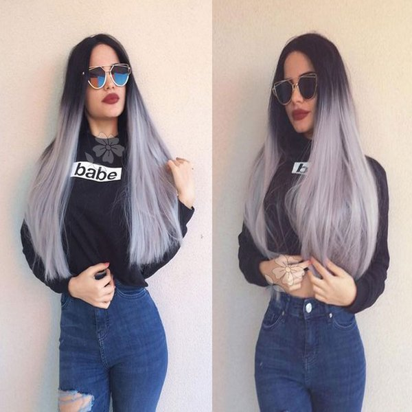 Fashion Ombre Grey Wig Long Straight Synthetic Lace Front Wig Glueless Two Tone Dark Roots/Silver Grey Ombre Heat Resistant Hair Women Wigs
