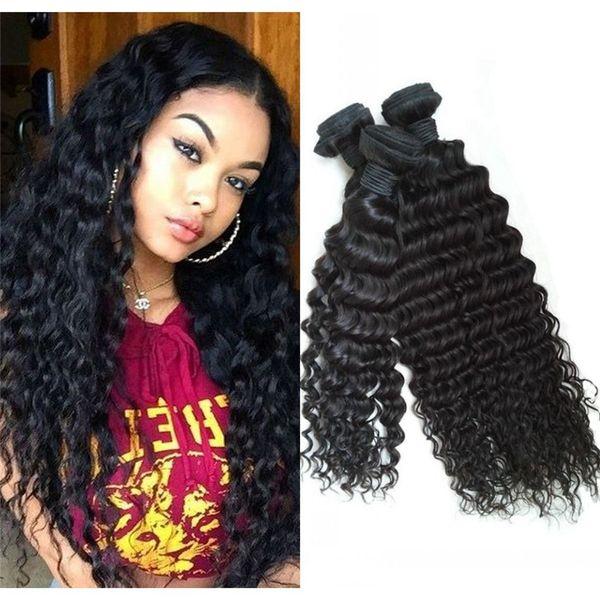 Deep Wave Curly Indian Cheap Human Hair Weaves 3 Bundles Unprocessed Virgin Hair Extensions 8-30 inch FDSHINE