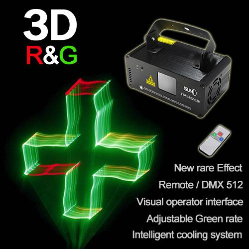 Mini 250mw Red Green Mixed Yellow 3D DMX 512 Remote Sound Projector Stage Equipment Light DJ KTV Show Holiday Laser Lighting TDM-RGY250
