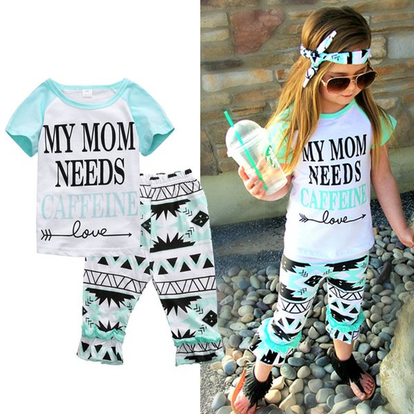 New Baby Clothes Girl Clothing Set Toddler Summer Tracksuit Infant Short Sleeve Shirt Trouser Cotton Legging Pants Sports Suit Kids Playsuit