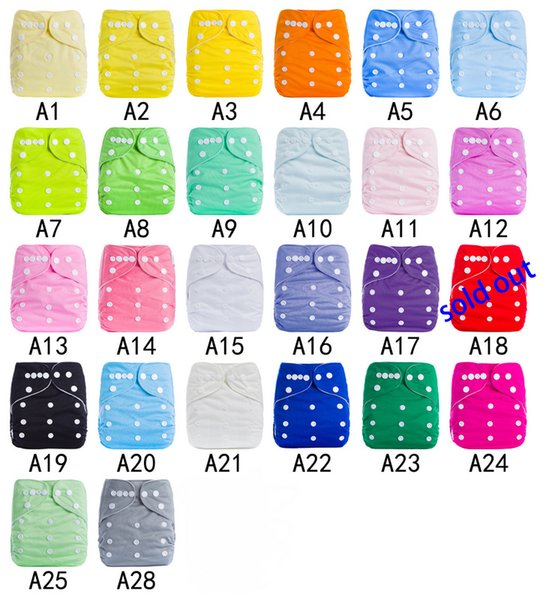 top popular Hot Sale 30Set=30pc Plain Color Baby Diaper Covers + 30PC 3Layer Microfiber Inserts TPU Cloth Diapers Pocket Baby Buckle AI2 Diapers 2021