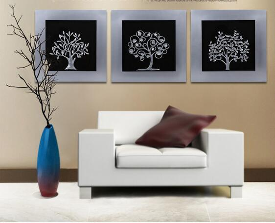 New Style Wood Frame With Silver Painting Happy Tree Wall Art Display High Quality Gift For Dining Room Decoration Novelty For Men Novelty Funny Gifts