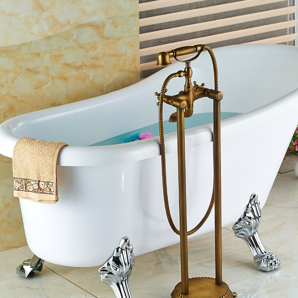 Antique Brass Bathroom Floor Mounted Tub Faucet Hand Shower Telephone Style Tub Filler Mixer Tap
