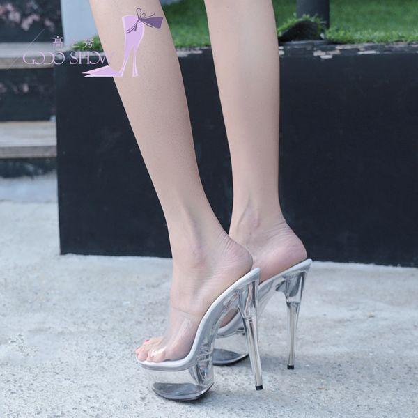 The princess of 2017 super high heel 15CM tall thin and transparent crystal bridal shoe waterproof platform cold drag banquet bride shoe