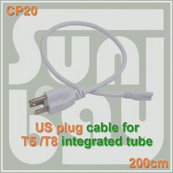 Livraison gratuite T5 T8 Connecteur câble fil Cordon d'alimentation avec fiche US standard pour T5 T8 intégré led tubes 3 Prong 200cm Câble