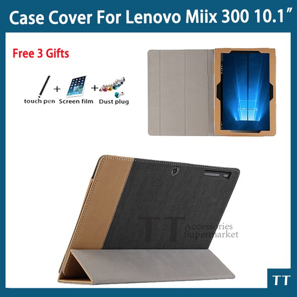 "Wholesale-For Lenovo Miix 300 Case High quality PU Leather case for Miix300 10.1""Case cover + free screen protector + touch pen"