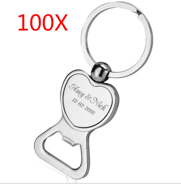 100pcs Customized metal keychain with LOGO Free Engraved ,each packing in black box, Bride and Groom Name engraved on it