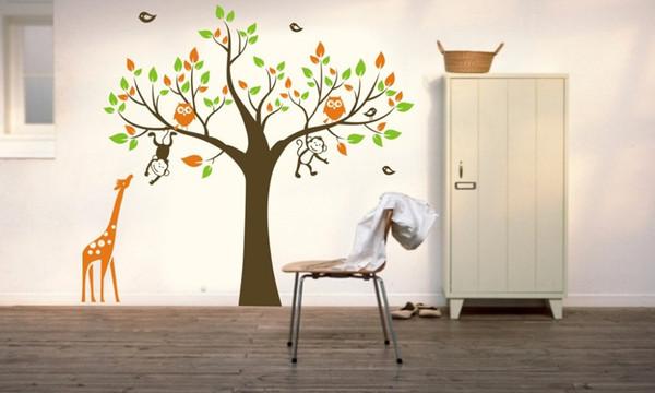 BOBO Árbol MONO jirafa Extraíble Pegatinas de Arte de Pared Niños Nursery Vinyl Decal DIY Árbol Grande Pegatinas de Pared Para Niños Habitación Mural