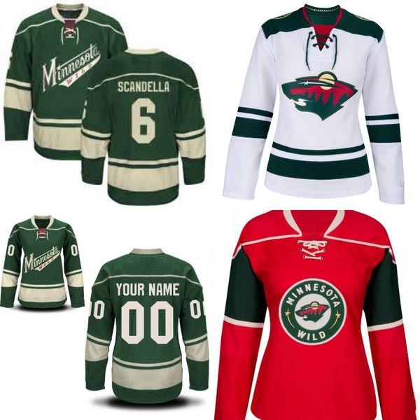 Lady Minnesota Wild Jersey 7 Matt Cullen 20 Ryan Suter 40 Devan Dubnyk 46 Jared Spurgeon 64 Mikael Granlund Custom Hockey Jerseys S-2XL