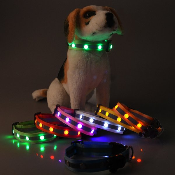 Manufacturers of new 2.5cm nylon lamp with LED light reflective collar dog pet collar gem necklace