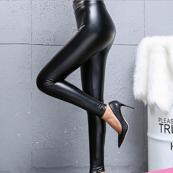 Neue 2019 Schwarz PU Kunstleder Stretch Leggings Hohe Taille Frauen Bleistift Leggings Sexy Punk Hosen für Frauen Slim Fit Legging Warme Hosen