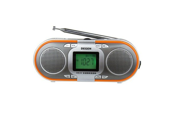 Wholesale-Degen DE23 AM/FM Radio Portable FM-stereo/MW/SW DSP MP3 Player Speaker World Band Receiver With TF card slot / Power down memory