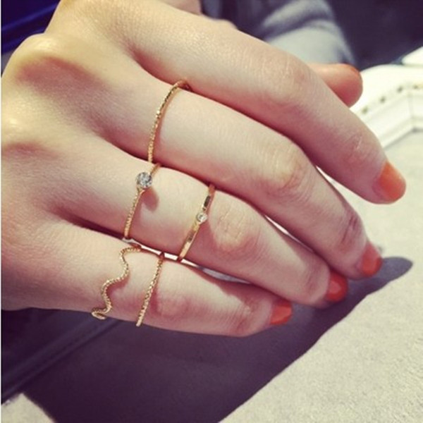 best selling 5PCS SET Simple fashion jewelry wave five-piece thread with a crystal diamond ring finger ring finger knuckle ring