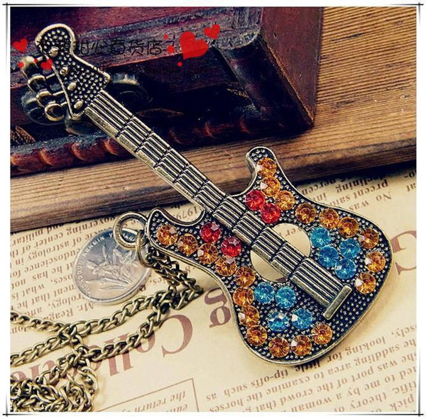 Trendy Bronze Guitar Sweater Chain Necklace with Charm Studded Crystals Musical Guitar Shape Chain Pendant gifts for women and men