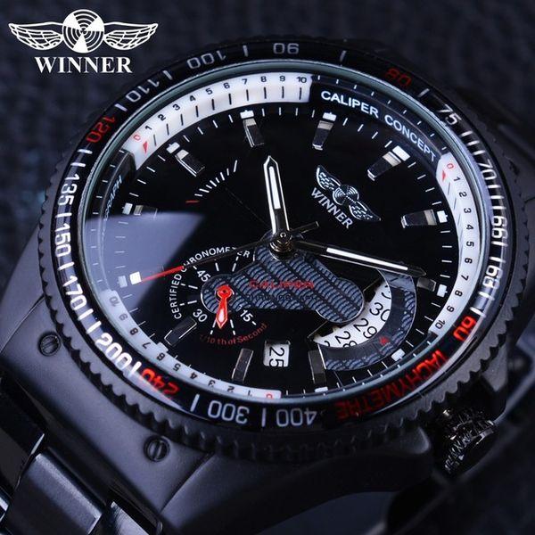 Winner Racing Design Black Stainless Steel Calendar Display Sport Mens Watches Top Luxury Watch Business Brand Mechanical Automatic Watch
