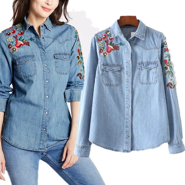 ba1b3f68d7e Fashion Women Denim shirts Blouse Cotton Washed light blue Florals  Embroidered Long sleeve Pockets decor 2017 Autumn Spring High quality
