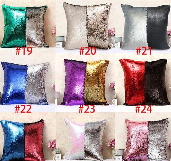 top popular Mermaid sequins Pillow cases DIY Two Tone Glitter Sequins Pillow Case Covers Magic Reversible Pillowslip Sofa 31colors 2019